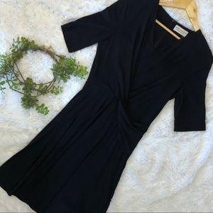 {M.M. Lafleur} Black Faux Wrap V Neck Dress